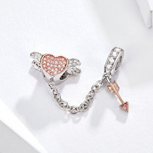 925 Sterling Silver Two Tone CZ Cupid Arrow Pandora Compatible Decorative Chain Charm