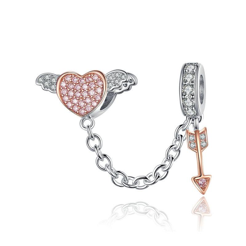 925 Sterling Silver Two Tone CZ Cupid Arrow Pandora Compatible Charm