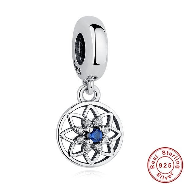 925 Sterling Silver Blue CZ Flower Patterned Pandora Compatible Dangle Charm