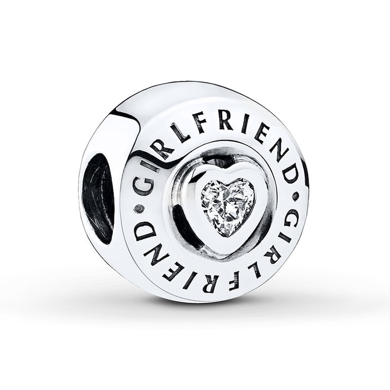 925 Sterling Silver CZ Girlfriend Pandora Compatible Charm