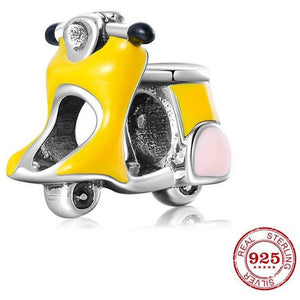 925 Sterling Silver Yellow Enamel Adorable Scooter Pandora Compatible Charm