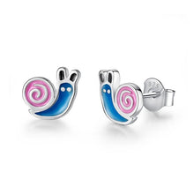 Load image into Gallery viewer, 925 Sterling Silver Blue and Pink Enamel Snail Stud Earrings