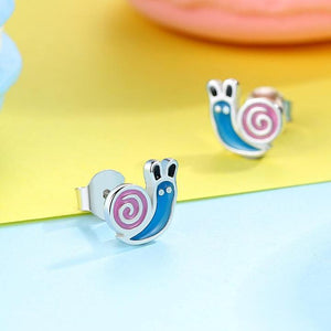 925 Sterling Silver Blue and Pink Enamel Snail Stud Earrings