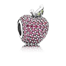 Load image into Gallery viewer, 925 Sterling Silver Dazzling Red/Pink CZ Apple Pandora Compatible Bead Charm
