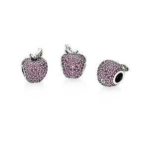 925 Sterling Silver Dazzling Red/Pink CZ Apple Pandora Compatible Bead Charm