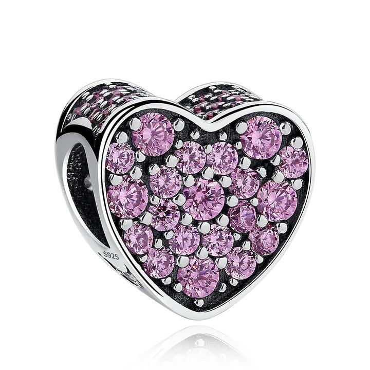 925 Sterling Silver Pink CZ Pandora Compatible Bead Charm