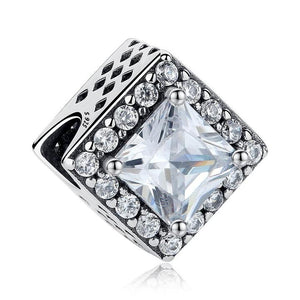 925 Sterling Silver Square Pandora Compatible CZ Charm