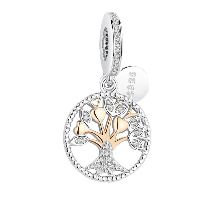 925 Sterling Silver Tree of Life Two Tone Charm Pandora Compatible Charm