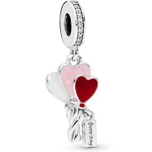 925 Sterling Silver Happy Birthday Heart Shaped Balloons Pandora Compatible Dangle Charm