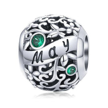 Load image into Gallery viewer, 925 Sterling Silver Birthstone and Birthmonth Pandora Compatible Bead Charm