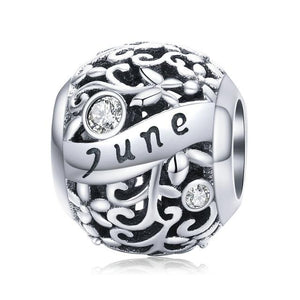 925 Sterling Silver Birthstone and Birthmonth Pandora Compatible Bead Charm