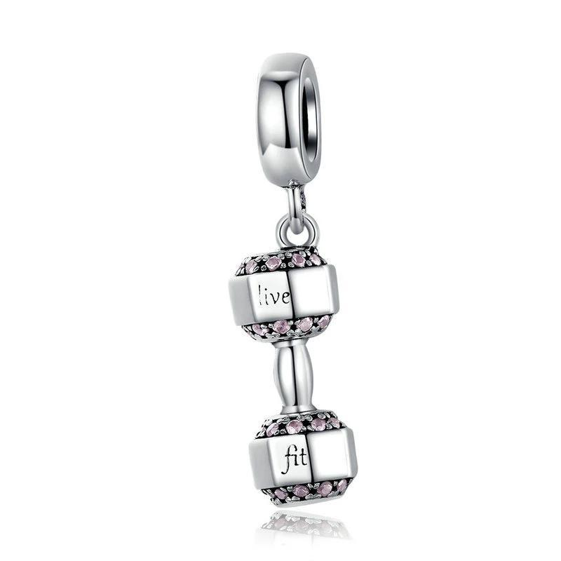 925 Sterling Silver Dumbell dangle Pandora Compatible Charm