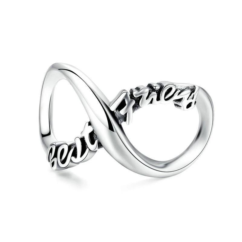 925 Sterling Silver Best Friends Infinity Pandora Compatible Bead Charm