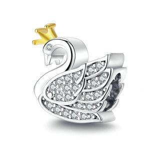 925 Sterling Silver Swan Bead Pandora Compatible Charm