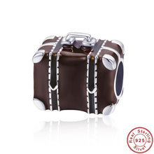 Load image into Gallery viewer, 925 Sterling Silver Travelling Suitcase Brown Enamel Pandora Compatible Charm