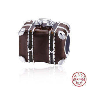 925 Sterling Silver Travelling Suitcase Brown Enamel Pandora Compatible Charm
