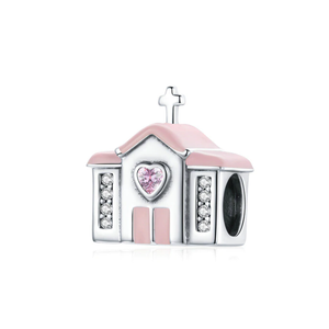 925 Sterling Silver Romantic Wedding Pink Church Pandora Compatible Bead Charm