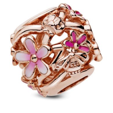 925 Sterling Silver Rose Gold Plated Pink daisy openwork Pandora Compatible Bead Charm