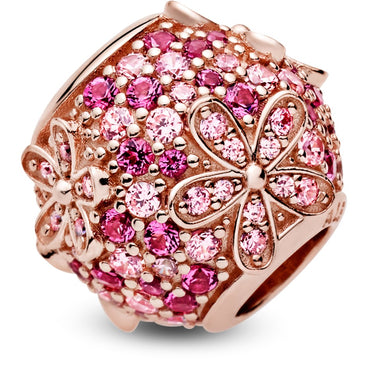 925 Sterling Silver Rose Gold Plated Pink Daisy Pandora Compatible Bead Charm