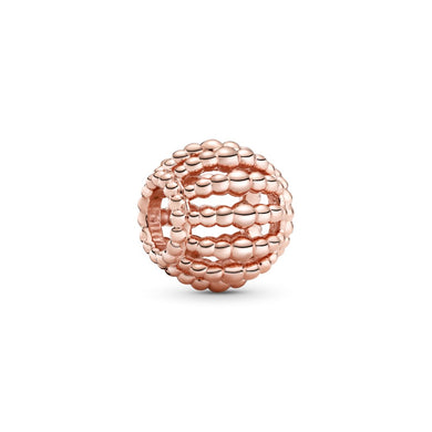 925 Sterling Silver Rose Gold-Color Open Work Ball Pandora Compatible Charm