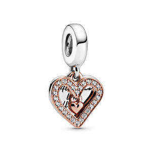 925 Sterling Silver Rose Gold PLATED All of Me Loves All of You Pandora Compatible Dangle Charm