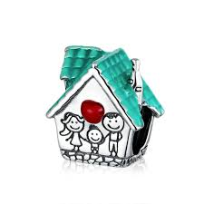 925 Sterling Silver Family House Pandora Compatible Bead Charm