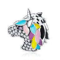 925 Sterling Silver Colourful Enamel Unicorn CZ Pandora Compatible Bead Charm