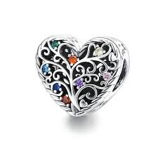925 Sterling Silver Colour CZ Tree of Life Heart Shaped Pandora Compatible Bead Charm