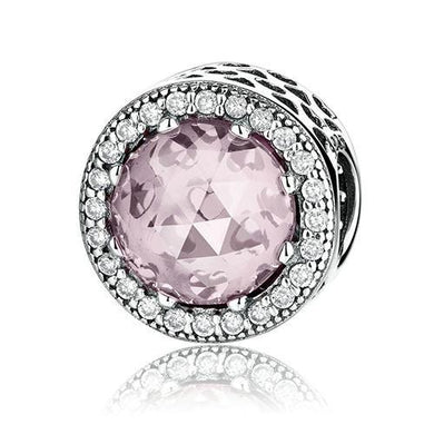 925 Sterling Silver CZ Pink Murano Glass Pandora Compatible Bead Charm