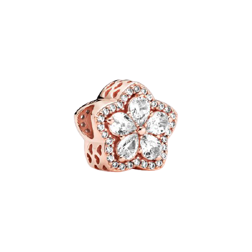 925 Sterling Silver CZ Rose Gold Plated Flower Pandora Compatible Bead Charm