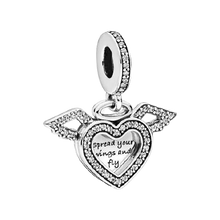 Load image into Gallery viewer, 925 Sterling Silver CZ Spread Your Wings and Fly Heart Pandora Compatible Dangle Charm