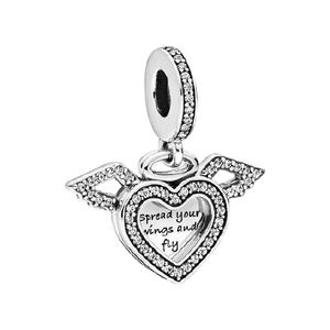 925 Sterling Silver CZ Spread Your Wings and Fly Heart Pandora Compatible Dangle Charm