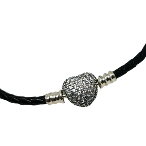 925 Sterling Silver CZ Heart Clasp Black Single Leather Bracelet
