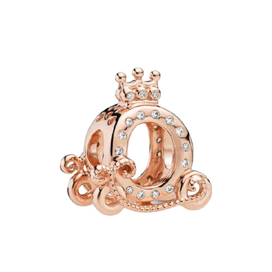 Rose Gold-Color Carriage Pandora Compatible Bead Charm