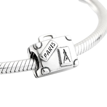 Load image into Gallery viewer, 925 Sterling Silver Paris Travel Suitcase Pandora Compatible Bead Charm