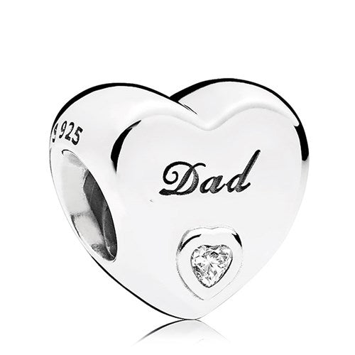 925 Sterling Silver CZ Engraved DAD Heart Pandora Compatible Bead Charm