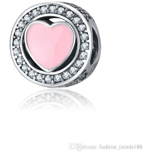 925 Sterling Silver Soft Pink Enamel Heart Pandora Compatible Bead Charm