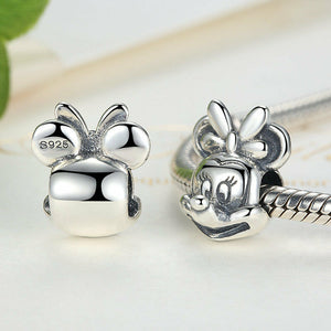 925 Sterling Silver Minnie Mouse Plain Face Pandora Compatible Bead Charm