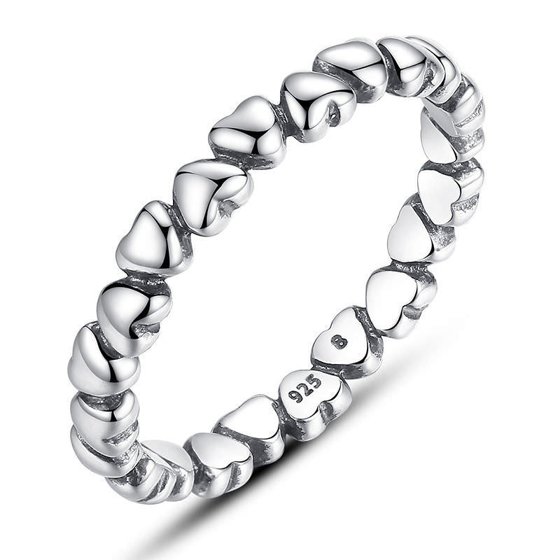 925 Sterling Silver Stackable Trail of Hearts Ring