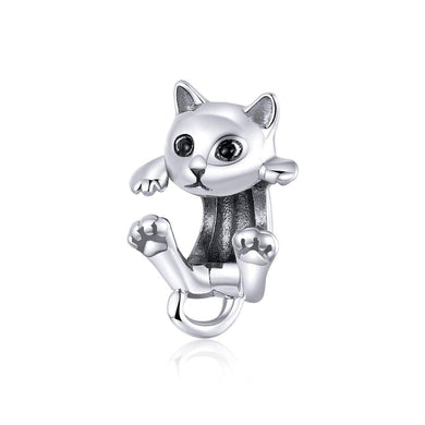925 Sterling Silver Hanging Cat Pandora Compatible Bead Charm