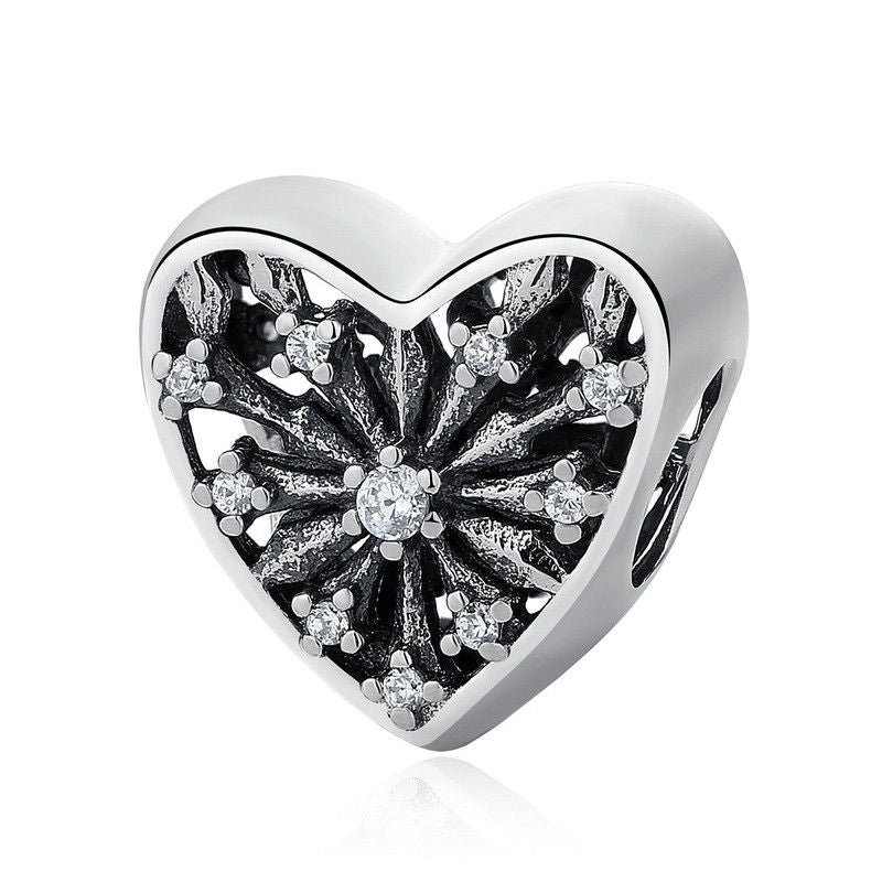 925 Sterling Silver Snowflake Heart Pandora Compatible Bead Charm