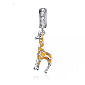 925 Sterling Silver Sweet Yellow Giraffe Pandora Compatible Dangle Charm