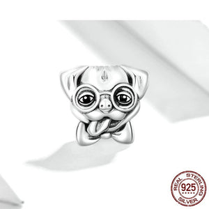 925 Sterling Silver Crazy Pug Dog Pandora Compatible Bead Charm
