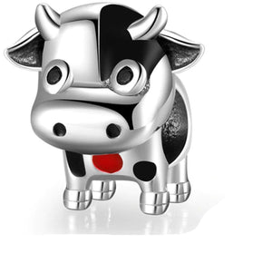 925 Sterling Silver Cute Cow Enamel Pandora Compatible Bead Charm
