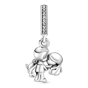 925 Sterling Silver Wedding Couple Pandora Compatible Dangle Charm