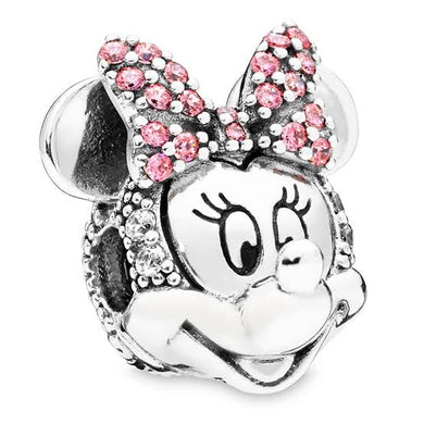 925 Sterling Silver CZ Minnie Mouse Head/Face Pandora Compatible CLIP