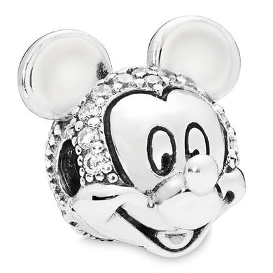 925 Sterling Silver CZ Mickey Mouse Head/Face Pandora Compatible CLIP