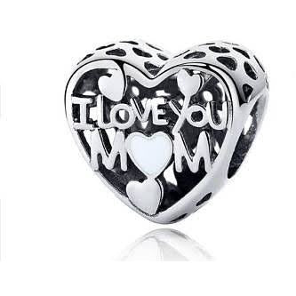 925 Sterling Silver Openwork I Love You Mom Pandora Compatible Bead Charm