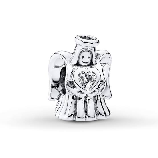 925 Sterling Silver Angel CZ Heart Pandora Compatible Bead Charm