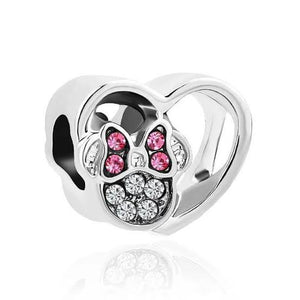 925 Sterling Silver CZ Minnie Mouse Heart Pandora Compatible Bead Charm